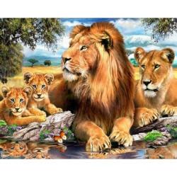 Львиный прайд, набор для изготовления картины стразами 50х40см 32цв. полная выкладка АЖ