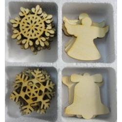 Снежинки, колокольчики, ангелы, набор заготовок фанера 3мм, размер фигур 5х5см 24шт NK