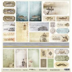 Карточки из коллекции Мистер Винтаж, лист односторонней бумаги 30х30см, 190гр/м Scrapmir