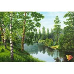 Лесная река, набор для изготовления картины стразами 56х38см 20цв. полная выкладка АЖ