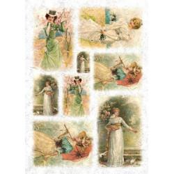 Девушки в садах, бумага рисовая для декупажа, 32х45 см. Love2Art