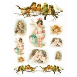 Девочки и птицы, бумага рисовая для декупажа, 32х45 см. Love2Art