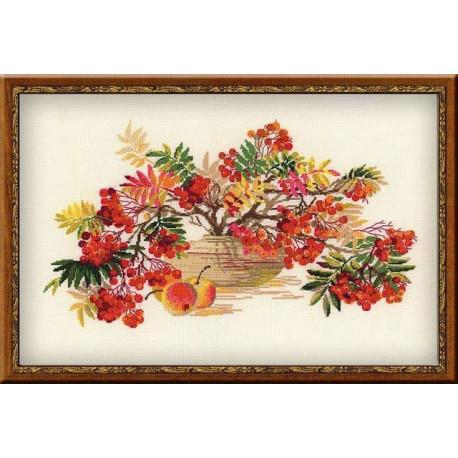 Рябина, набор для вышивания крестиком, 55х35см, нитки шерсть Safil 19цветов Риолис