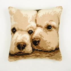 """Юные друзья"""", подушка для вышивания, канва 100% хлопок, нитки 100% акрил 40х40 см"""