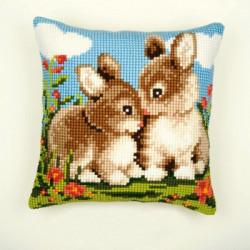 Кролики, подушка для вышивания, канва 100% хлопок, нитки 100% акрил 40х40 см