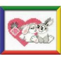 Зайка моя, набор для вышивания крестиком, 16х13см, мулине хлопок 6цветов Риолис