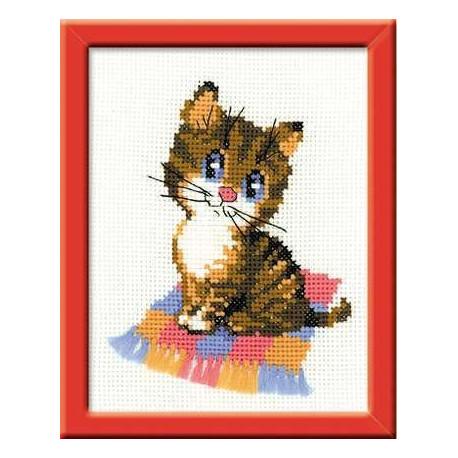 Котенок, набор для вышивания крестиком, 15х18см, мулине хлопок 8цветов Риолис