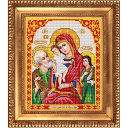 Трех Радостей Пресвятая Богородица, ткань с рисунком для вышивки бисером 20х25см. Благовест