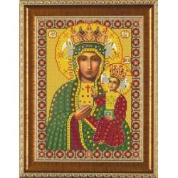 Богородица Ченстоховская, ткань с рисунком для вышивания бисером формат А3
