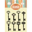 Ключи разные 8шт, набор силиконовых штампов 10х10см