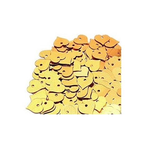 Желтый, пайетки-сердце россыпью d13мм 10г Zlatka