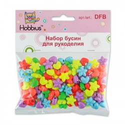 Звездочки и сердечки, набор пластиковых бусин для рукоделия, 50гр. Hobbius