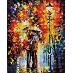 Поцелуй под дождем, набор для изготовления картины стразами 40х50см 55цв.полная выкладка, Белоснежка