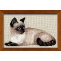 Тайская кошка, набор для вышивания крестиком, 38х26см, нитки шерсть Safil 12цветов Риолис