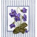 Фиалки, набор для вышивания крестиком и лентами 14х14см 2+3цветов Panna
