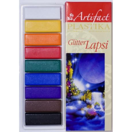 Lapsi Glitter. набор полимерной глины 9 классических цветов с блестками 9х20гр Artifact