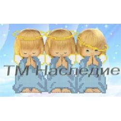 Три ангелочка, ткань с рисунком для вышивания бисером 17х12см 4цв. Наследие