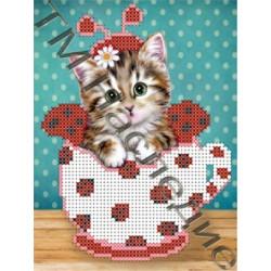 Котейка 1, ткань с рисунком для вышивания бисером 16х12см 4цв. Наследие