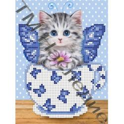 Котейка 4, ткань с рисунком для вышивания бисером 16х12 см 4цв. Наследие