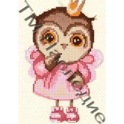 Совушка принцесса, ткань с рисунком для вышивания бисером 17х12 см 9цв. Наследие