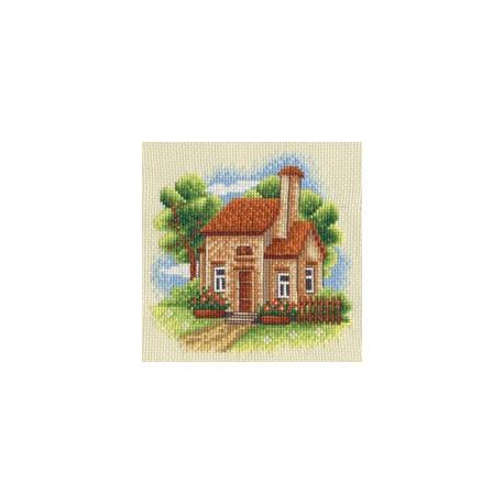 Домик в саду, набор для вышивания крестиком, 13х13см, 22цвета Panna