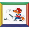 Хоккей, набор для вышивания крестиком, 13х16см, мулине хлопок 9цветов Риолис