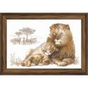 Львиный рай, набор для вышивания крестиком 60х40см мулине хлопок Anchor 17цветов Риолис
