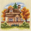 Домик за забором, набор для вышивания крестиком, 13х13см, 26цветов Panna