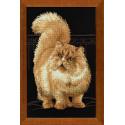 Персидский кот, набор для вышивания крестиком 26х38см нитки шерсть Safil 15цветов Риолис