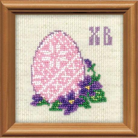 Пасхальное яйцо, набор для вышивания 10х10см бисер+мулине 7+2цветов Риолис