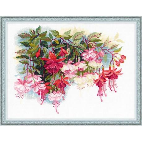 Фуксия, набор для вышивания крестиком 40х30см нитки шерсть Safil 25цветов Риолис