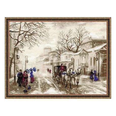 Старая улочка, набор для вышивания крестиком, 40х30см, нитки шерсть Safil 18цветов Риолис