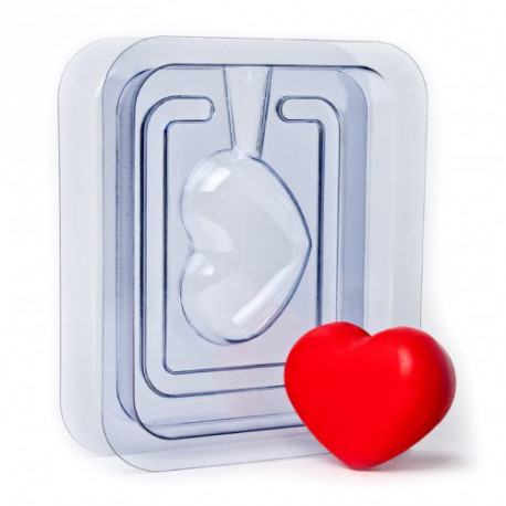 Сердечко 3D (2половины), пластиковая форма для мыла 60г 65х45х30мм PC