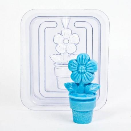 Цветок 3D (2половины), пластиковая форма для мыла 40г 60х32мм PC