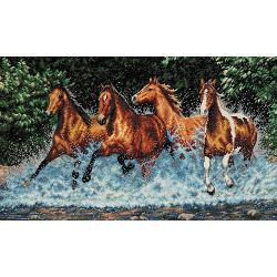 Бегущие лошади, набор для вышивания крестиком, 46х25см, Dimensions