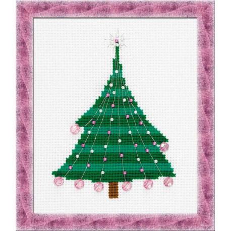 Ёлочка с хрустальными шариками, набор для вышивания, 13х16см, бусины+нитки 3+3цветов Риолис
