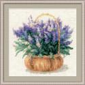 Французская лаванда, набор для вышивания крестиком 25х25см нитки шерсть Safil 24цвета Риолис