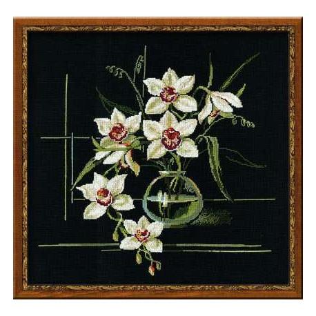 Орхидеи, набор для вышивания крестиком, 40х40см, нитки шерсть Safil 15цветов Риолис