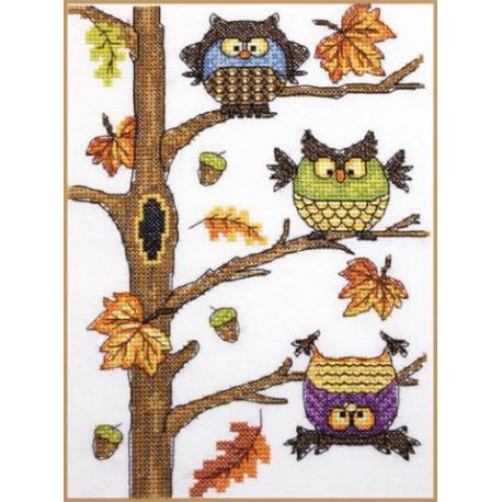 Осенний совопад, набор для вышивания крестом 15х20см мулине Finca 17цв. канва Linda 27ct Neocraft