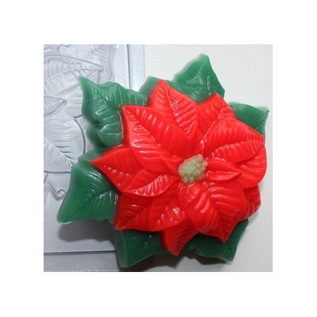 Пуансетия, пластиковая форма для мыла 80г 88х82х25мм XD