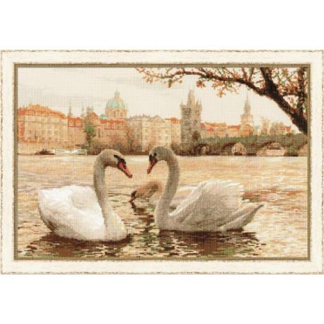 Лебеди.Прага, набор для вышивания крестиком 45х30см мулине хлопок Anchor 25цветов Риолис