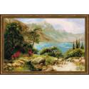 Горное озеро, набор для вышивания крестиком, 60х40см, нитки шерсть Safil 30цветов Риолис