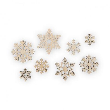 Набор снежинок ассорти 8шт, заготовка для декорирования фанера 3мм 1-3см Mr.Carving