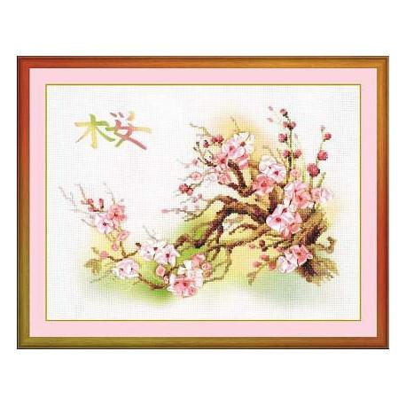 Ветка сакуры, набор для вышивания крестиком, 40х30см, 18цветов, частичная Риолис