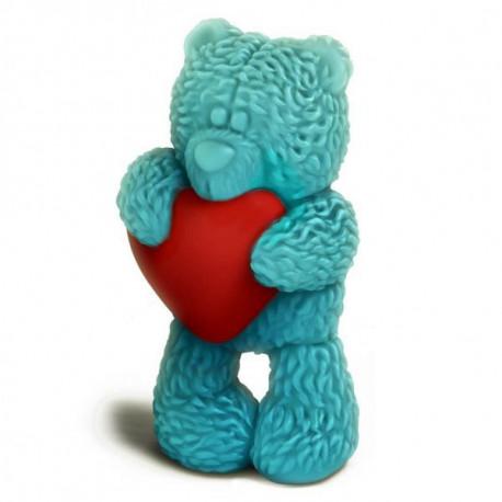 Медвежонок Тедди стоит с сердечком 3D (2половины), пластиковая форма для мыла 80г 70х40мм PC