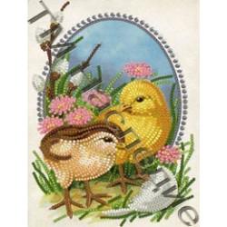 Пасха, ткань с рисунком для вышивания бисером 16х12см 13цв. Наследие