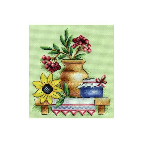 Дары осени, набор для вышивания крестиком 14х14см 24цвета Panna