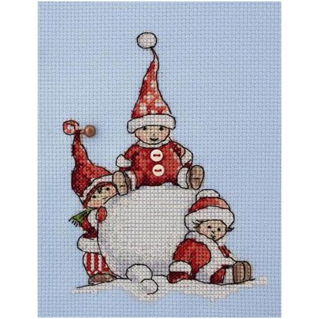 Зимние забавы, набор для вышивания крестом 10х13см мулине Finca канва Zweigart 14 Neocraft