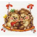 На качелях, набор для вышивания крестиком 14х13см 20цветов Алиса