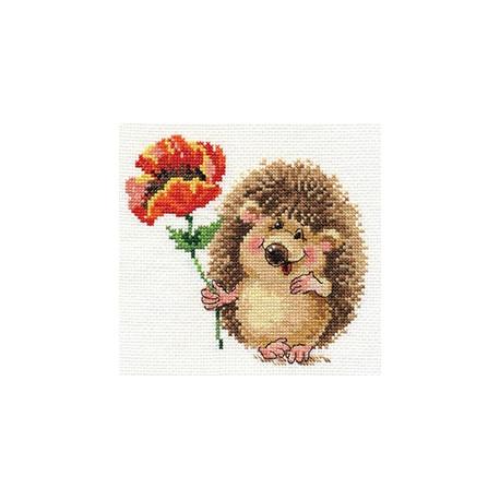 Ёжик с маком, набор для вышивания крестиком 14х13см 19цветов Алиса
